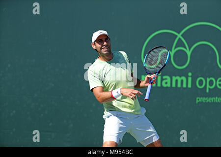 KEY BISCAYNE, FL - MARCH 22: Fernando Verdasco during Day 4 of the Miami Open at the Crandon Park Tennis Center. Alexander 'Sascha' Zverev Jr. is a German professional tennis player. He is currently the youngest player in the ATP top 30. Zverev finished the 2017 season ranked world No. 4 on March 22, 2018 in Key Biscayne, Florida   People:  Fernando Verdasco - Stock Photo