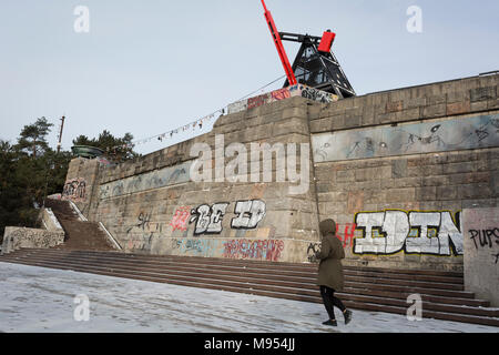 Stalinist architecture in Letna Park (Letenske Sady), on 18th March, 2018, in Prague, the Czech Republic. Up until it was destroyed by Soviet leader Nikita Kruschev, the largest statue to Stalin in the entire Eastern Bloc was located here. It is now a favourite place skateboard park, dog walkers and families. - Stock Photo