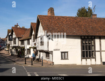 Historic Tudor architecture of the Swan Hotel, Lavenham, Suffolk, England, UK - Stock Photo