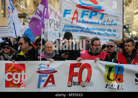 Protesters march against French government's string of reforms, Lyon, France - Stock Photo