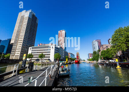 ROTTERDAM, NETHERLANDS - MAY 25, 2017: Exterior view of the Leuvehaven ship harbor in the city center of Rotterdam on May 25, 2017. Its located betwee - Stock Photo
