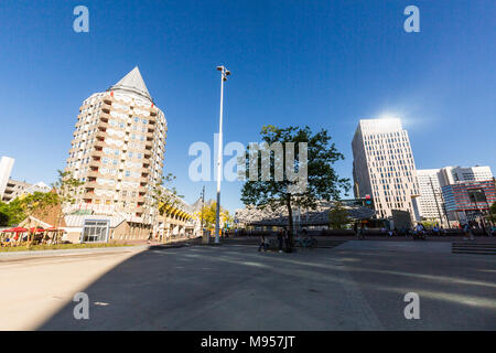 ROTTERDAM, NETHERLANDS - MAY 25, 2017: Exterior view of the Blaak Square and the office buildings along it on May 25, 2017. Its a famous place and met - Stock Photo