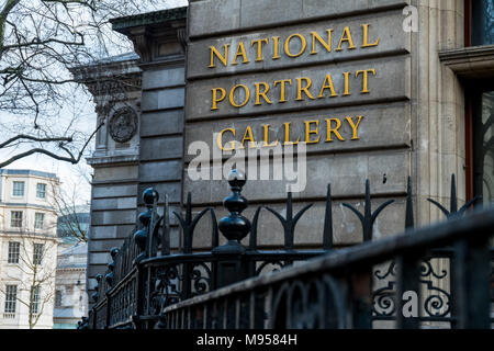 The National Portrait Gallery (NPG) on Charing Cross Road near Trafalgar Square in Westminster, London - Stock Photo