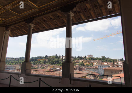 Italy, Florence - May 18 2017: the view from Terrace of Saturn at Palazzo Vecchio on May 18 2017 in Florence, Italy. - Stock Photo