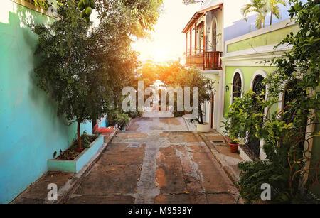 San Juan streets at sunset - Stock Photo