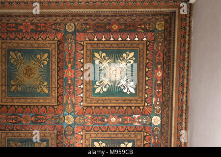 Italy, Florence - May 18 2017: the view of the painted wooden ceiling fragment inside the medieval Palazzo Vecchio on May 18 2017 in Florence, Italy. - Stock Photo