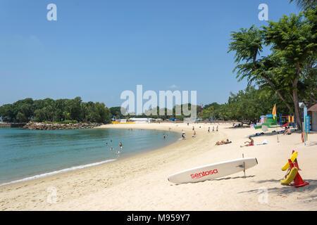 Palawan Beach, Sentosa Island, Central Region, Singapore Island (Pulau Ujong), Singapore - Stock Photo