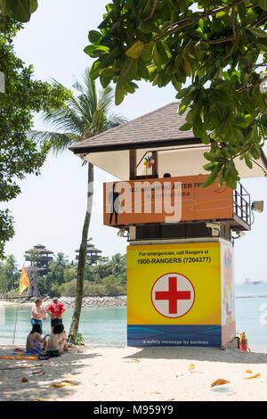 Lifeguard tower on Palawan Beach, Sentosa Island, Central Region, Singapore Island (Pulau Ujong), Singapore - Stock Photo