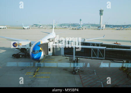 Incheon, Korea - August 7, 2016 : The plane at the airport - Stock Photo
