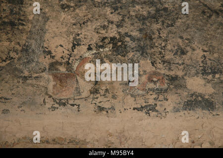Pictographs still exist on the walls of the ruins at Bandelier National Monument in New Mexico. - Stock Photo