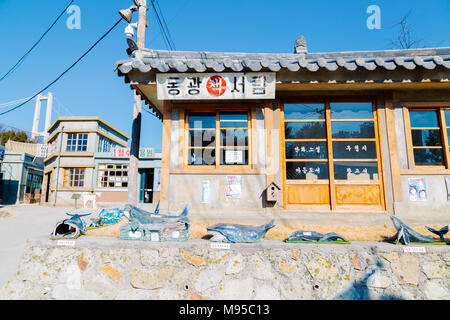 Ulsan, Korea - February 9, 2017 : Old architecture and street in Jangsaengpo village from 1960s to 70s - Stock Photo