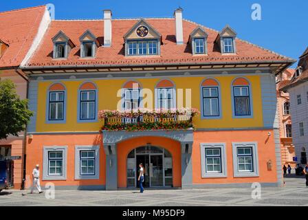 Sibiu, Transylvania, Romania. Anglo Romanian Bank in Piata Mare (square) - Stock Photo