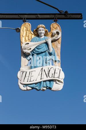 Sign against blue sky the Angel Hotel, Lavenham, Suffolk, England, UK - Stock Photo