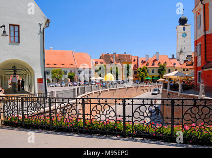 Sibiu, Transylvania, Romania. Piata Mica (square) Franz Binder Museum of World Ethnology and Iron Bridge ('Liars Bridge') - Stock Photo