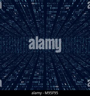Encryption information. Binary code on blue background. Random binary numbers. Big data algorithm abstract concept. Vector illustration - Stock Photo