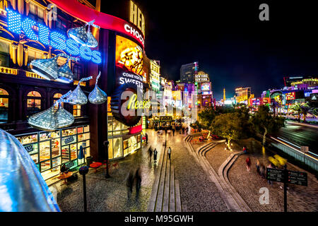Busy evening on the strip, Las Vegas, U.S.A. - Stock Photo