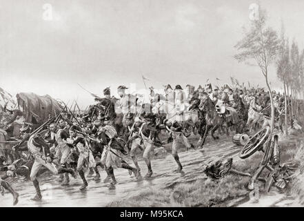 French soldiers running for safety after the Battle of Waterloo, 18th June, 1815.  From Hutchinson's History of the Nations, published 1915 - Stock Photo