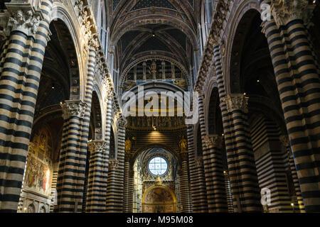 Siena, Italy - October 15 2017: Interior of Siena's Cathedral of Santa Maria Assunta (Duomo di Siena) - Stock Photo