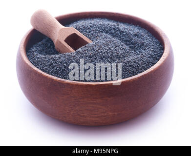 Poppy seeds in bowl over white background - Stock Photo