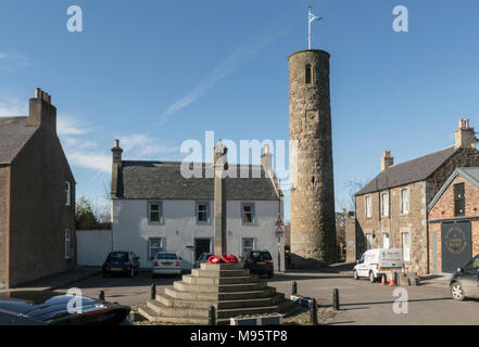 An Irish style round tower is at the centre of the village of Abernethy, Perthshire, Scotland, UK. - Stock Photo