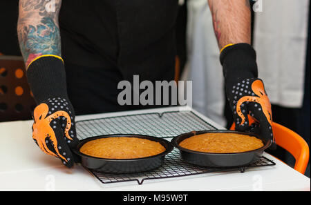 Two freshly baked carrot cakes without decorations. - Stock Photo