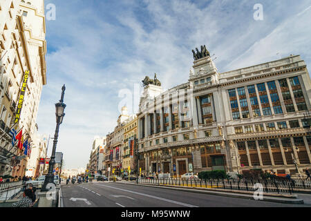 Madrid, Spain : Alcala street in downtown Madrid with the BBVA Bank building Projected in 1919 by architect Ricardo Bastida (1879–1953) and built from - Stock Photo