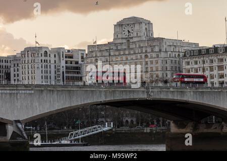 Red Buses on Waterloo Bridge London