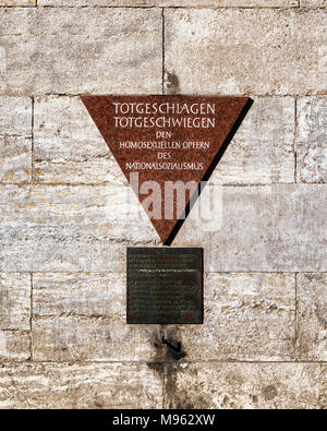 Berlin,Schöneberg,Nollendorfplatz.Pink Triangle memorial plaque at the U-Bahn station commemorates the persecution of homosexuals in Nazi Germany and  - Stock Photo