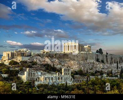Parthenon, Acropolis of Athens, Under the sky of Greece - Stock Photo