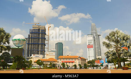 SAIGON, VIETNAM - OCTOBER 12, 2016: The area in Ho Chi Minh City. Skyscrapers, cars and people. - Stock Photo