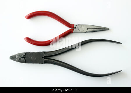 Flat nose and needle nose pliers - Stock Photo