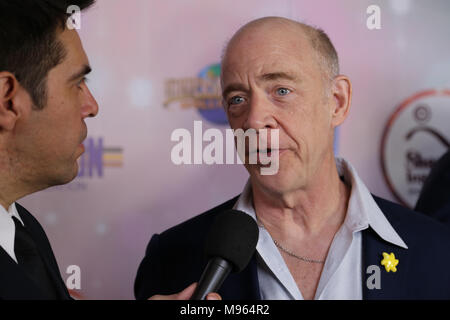 Los Angeles, CA - March 10, 2018: Actor J.K. Simmons is interviewed on the red carpet at the Shane's Inspiration 20th anniversary gala at Vibiana. - Stock Photo