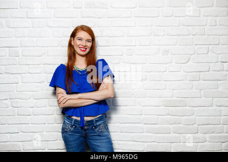 Portrait of happy white woman smiling. Caucasian redhead girl laughing and looking at camera. Copy space - Stock Photo