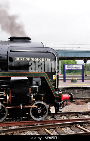 Unique BR Standard Pacific No 71000 Duke of Gloucester waits to leave Bristol Temple Meads with the Torbay Express to Devon. - Stock Photo