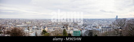 Panoramic aerial view at Paris, France from Montmartre hill - Stock Photo