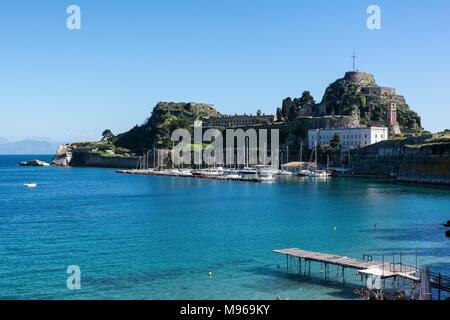 The Old Venetian Fortress in Kerkyra, Corfu island, Greece. View from the sea. - Stock Photo