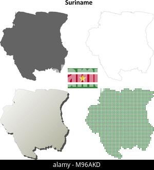 Suriname blank detailed outline map set - Stock Photo