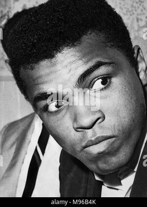 Muhammad Ali born Cassius Marcellus Clay Jr. January 17, 1942 June 3, 2016 was an American professional boxer and activist. He is widely regarded as one of the most significant and celebrated sports figures of the 20th century. From early in his career, Ali was known as an inspiring, controversial, and polarizing figure both inside and outside the ring. (Picture) Clay shortly after arriving in Glasgow. 18th August 1965 - Stock Photo