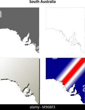 South Australia outline map set  - Stock Photo
