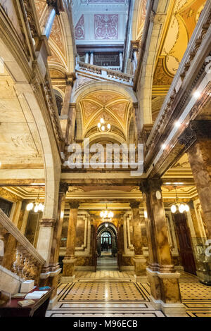 Interior view of ornate atrium inside Glasgow City Chambers with Italianate marble decoration, George Square, Glasgow, Scotland, United Kingdom. - Stock Photo