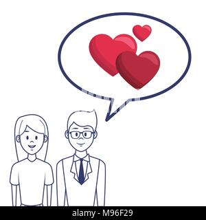 Couple in love cartoon - Stock Photo