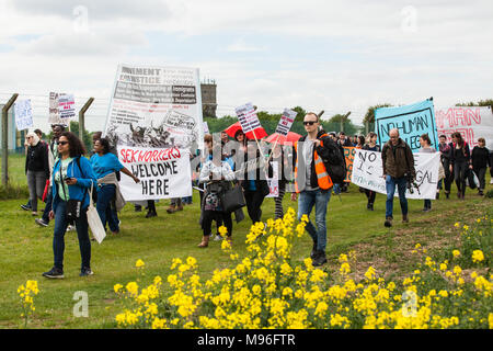 Milton Ernest, UK. 13th May, 2017. Campaigners against immigration detention attend a protest outside Yarl's Wood Immigration Removal Centre. - Stock Photo