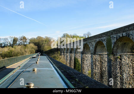 Narrowboat on the Llangollen Canal in Wales - Stock Photo