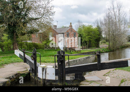 A Lock on the Llangollen Canal in Wales - Stock Photo