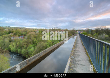 The Pontcysyllte Aqueduct on the Llangollen Canal in Wales - Stock Photo