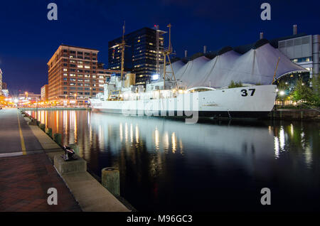 US Coast Guard Cutter Taney moored in Baltimore Inner Harbor, Maryland - Stock Photo