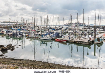 Yachts and boats moored in Town Quay Marina in Winter in Southampton, Hampshire, England, UK. - Stock Photo