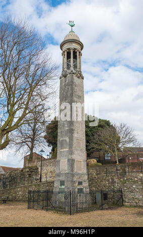 Mayflower ship passengers memorial by the old city walls in Southampton, Hampshire, England, UK. - Stock Photo