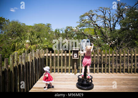 Children using lookout at the zoo - Stock Photo