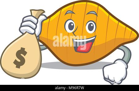 With money bag conchiglie pasta character cartoon - Stock Photo